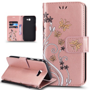 Galaxy A7 2017 Case,Galaxy A7 2017 Cover,ikasus Colourful Embossing Butterfly Flower Premium PU Leather Flip Wallet Stand Credit Card ID Holders Protective Case Cover for Galaxy A7 (2017),Rose Gold