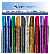 10 Pack - Non-Toxic Washable Glitter Glue Stick Set, Glitter Glue Pens for Grad Caps/Tassel Topper - Assorted Colours Glue Stick, Decorating Supplies, Glitter Pens,