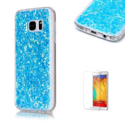 For Samsung Galaxy S7 Edge Case Cover [with Free Screen Protector], Funyye Fashionable Lovely and Sparkly Designer Shockproof Shock Absorber Soft Rubber Gel TPU Protective Case Cover Skin Shell for Samsung Galaxy S7 Edge- blue