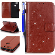 FESELE Huawei P9 Plus Case Bling Bling Sparkling PU leather Cover with Rhinestone Diamond Design Butterfly Flower PU Leather Bookstyle Wallet Case Magnetic Closure with Stand Function PU Leather Wallet Flip Cover Sleeve Card Slot and Banknotes Pocket w ..