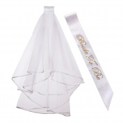 TaleeMall Bridal Wedding Veil with Comb and Gold Letters Bride to Be Sash,2 Pcs