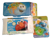 Sesame Street Beginnings Cookie Monster Baby Travel Bundle With Teether, Baby Wipes & Convenient Wipes Travel Case