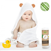 Happy Baby Extra Soft Hooded Bamboo Towel With Bear Ears | 100% Organic Hypoallergenic Bamboo | Comes With 2 Extra Washcloths and Yellow Little Duck for Happyer Bath Time | Size for Infant and Toddler
