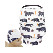 SHELLBOBO Multi-Use Infinity Stretchy Shawl Car Seat Canopy Baby Buggy Covers Animmals Printed Cotton Breastfeeding Covers for Moms Cute Bears