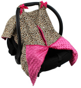 Strawberry Farms Baby Car Seat Cover Canopy and Nursing Cover 2 in 1 Pink Leopard