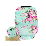 SHELLBOBO Baby Stretchy Car Seat Canopy Floral Musilin High Chair Cover Multi-Use Gift for Newborn Baby