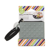 CB Go Small Silicone Pouch. On-the-Go for stroller and nappy bag organiser for Pacifiers, Keys, Credit Cards & More, Grey