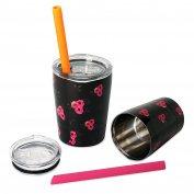 Housavvy Floral Double Wall Stainless Steel Kids Mugs with Lids and Straws, Set of 2