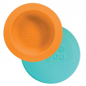 oogaa Baby and Toddler feeding bowl + lid combo, 100% high-grade European tested silicone higher than FDA standards - Orange With Jewel Blue Lid