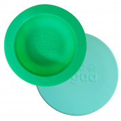 oogaa Baby and Toddler feeding bowl + lid combo, 100% high-grade European tested silicone higher than FDA standards - Sea Green With Jewel Blue Lid