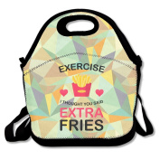 Exercise I Thought You Said Extra Fries Ladies Large & Thick Insulated Tote Lunch Tote Bag Insulated Lunch Bag For Men Women Kids Enjoy You Lunch