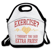 Exercise I Thought You Said Extra Fries! Large & Thick Insulated Tote GroceryBags Black Lunch Bag For Men Women Kids Enjoy You Lunch