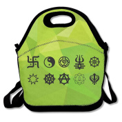 Symbol Of Buddha Large & Thick Insulated Tote LunchToteBag Paper Lunch Bag For Men Women Kids Art Of Lunch