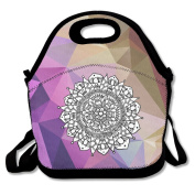 Mandala Yoga Round Large & Thick Insulated Tote GroceryBags Zipper Lunch Bag For Men Women Kids Art Of Lunch