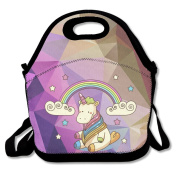 Unicorn Rainbow Miracle Star Large & Thick Insulated Tote Lunch Bags Yeti Lunch Bag For Men Women Kids Enjoy You Lunch