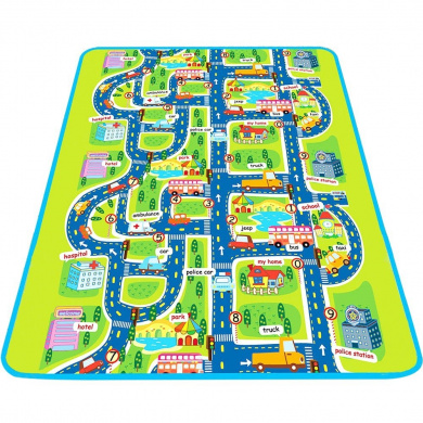 "Play Mat for Kids, Large Protective Floor Mat, Car Track Road Mat With Town Map, Pretend Play & Learning Mat For Baby and Toddler 63""x 79"" - iPlay, iLearn"