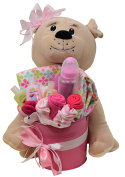 Baby Blossom Clothing Bouquet Gift With Plush Dog - Girl