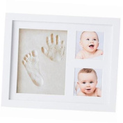 baby handprint footprint kit by - baby picture frame (white) & non toxic clay! unique