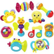 10 Baby Rattles Teether, Oball Shaker, Grab and Spin Rattle, Musical Toy Gift Set for Baby Infant, Newborn - iPlay, iLearn