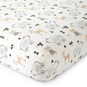 New Levtex Baby Bailey Taupe and Grey Woodland Themed Crib Fitted Sheet