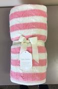 effe bebe Sweet Stripe Cotton Cable Knit Sherpa Baby Blanket