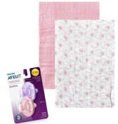 Muslin Swaddle Blanket Bundle - 2 Hudson Pink Swaddle Blanket 2 Avent Pacifers