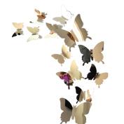 Sticker Butterfly, ZTY66 12PCS Butterflies 3D Mirror Mural Stickers for DIY Home Decor