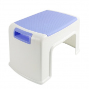 My Baby Step Stool | Portable Lightweight Kids Stepping Stool | Super Safe Rounded Edge with Handle Design | Anti-slip Textured Surface with 100kg Capacity | White Blue | 990