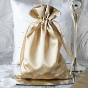 Efavormart 12PCS CHAMPAGNE Satin Gift Bag Drawstring Pouch Wedding Favours Bridal Shower Jewellery Bags - 15cm x 23cm
