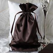 Efavormart 12PCS CHOCOLATE Satin Gift Bag Drawstring Pouch Wedding Favours Bridal Shower Jewellery Bags - 15cm x 23cm
