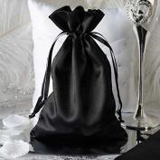 Efavormart 12PCS BLACK Satin Gift Bag Drawstring Pouch Wedding Favours Bridal Shower Jewellery Bags - 15cm x 23cm