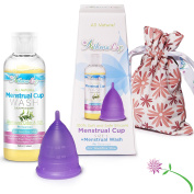 Athena Menstrual Cup - Small Size Purple Cup and Menstrual Wash in One Convenient Package - Ultimate Start Kit