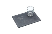 "KitchenCraft ""We Love Christmas"" Slate Serving Platter and Milk Glass Set - Etched 'Treats For Santa' Design, Grey"