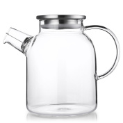QILEYIN 1600ml Water Pitcher, Resistant Transparent Glass Kettle Teapot Coffee Juice Jug with Stainless Strainer Functional for Household Cafe Restaurant Kitchen Gift,GYBL060