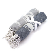 Turkish Beach / Bath Hammam Peshtermal Towel. Traditional Design 100% Cotton - Grey & Dark Blue - Set of 2