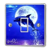 Dolphin water Light Switch Sticker Vinyl / Skin cover sw34