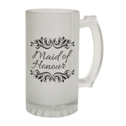 123t Mugs/Steins MAID OF HONOUR 470ml Frosted Glass Beer Mug/Stein