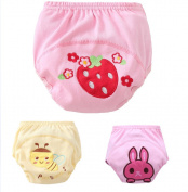 New 3PCS Baby Strawberry Bee Rabbit Animal Pattern Pee Potty Cotton Training Pants Nappy Nappy