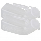RDEXP Transparent 1000ml Plastic Car Travel Camping Men's Pee Urinal Bottle Emergency Toilet Set of 2