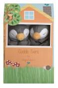 Angel Dear Grey Penguin Twin Set Blankies Box.