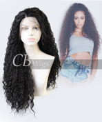 CBWIGS Black Afro Kinky Curly Synthetic Lace Front Wig Half Hand Tied Long Curly Fibre Hair Wig Heat Resistant 60cm #1B