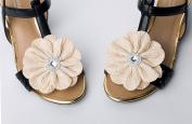 Women Fabric Flower Shoe Clips,Dress Shoe Clips, Prom Shoe Clip,Women's Shoes, Light Beige Shoe Clips