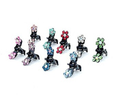 VNDEFUL 10 Pcs Mini Jaw Clip-Crystal Rhinestone Assorted Bangs Mini Hair Claw Clip Hair Pin Flower Accessories for Girl Women Baby Mix Coloured