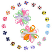 Babies Rhinestone Flower Hair Clip with Multicoloured 2-layer Eight Petals -10 Pairs & 7.6cm