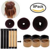 6pcs Magic Hair Bun Maker + 3pcs Hair Bun Maker Ring Former Foam Hairstyle Clip DIY Doughnuts Hair Bun Tool