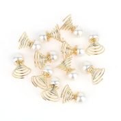 12Pcs Bridal Women Faux Pearl Swirl Twist Hairpin Screw Clamp Hair Clip Fashion Jewellery Doubtless Bay