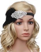 BABEYOND Women's Feather Flapper Headband Vintage The Great Gatsby Headband 1920 Crystal Applique Headband