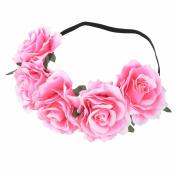 MISM Big Flower Headband Fabric Hawaiian Rose Hair Crown Wreath for Wedding-pink