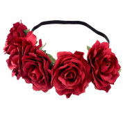 MISM Rose Flower Hair Accessories Headband Bohemian Floral Hair Clip Brooch-red headband