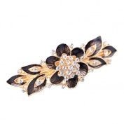 YAZILIND Gold Plated Bridal Hair Accessory Shinning Hair Barrette for Women Clips Hair Hairpins-Black Grey